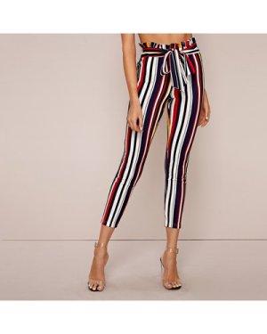 Paperbag Waist Self Belted Striped Skinny Pants