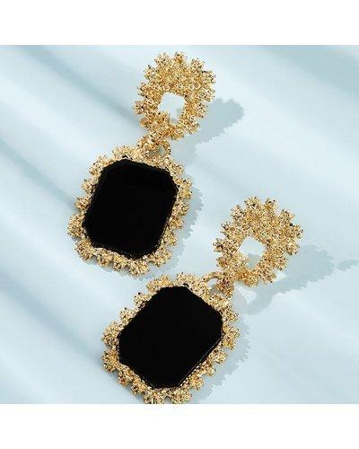 Two Tone Geometric Drop Earrings 1pair