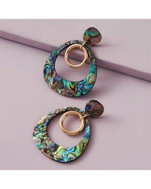 1pair Ring Charm Abalone Pattern Hoop Drop Earrings