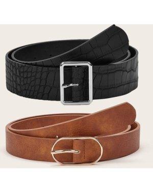 2pcs Croc Pattern Buckle Belt