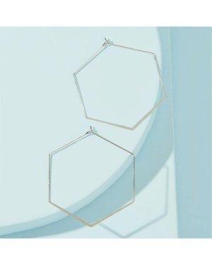 Hexagon Shaped Hoop Earrings 1pair