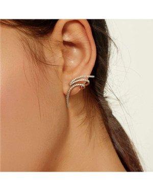 Spiral Design Rhinestone Stud Earrings 1pair