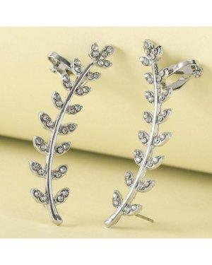 1pair Rhinestone Decor Leaf Design Ear Cuff