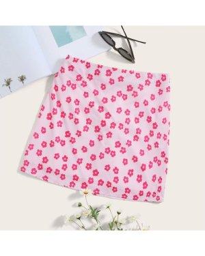 Zip Back Floral Print Skirt