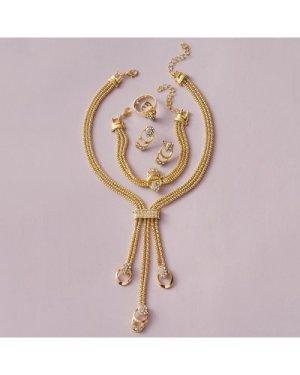 5pcs Rhinestone Decor Layered Jewelry Set