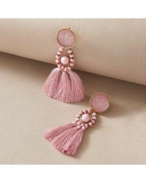 1pair Tassel Decor Beaded Drop Earrings