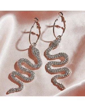 1pair Rhinestone Decor Serpentine Hoop Drop Earrings