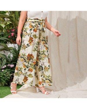 Plus Tropical Print Paperbag Waist Palazzo Pants