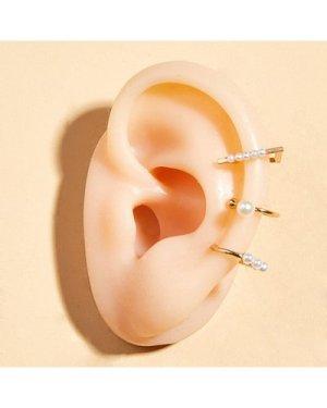 3pcs Faux Pearl Decor Geometric Ear Cuffs