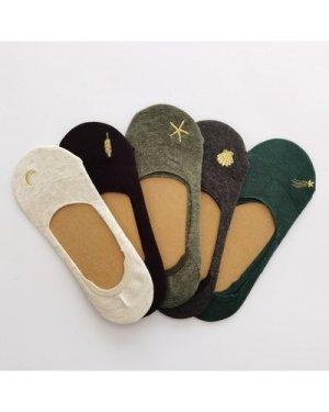 5pairs Moon & Star Embroidered Socks