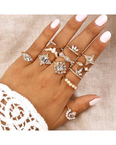 Rhinestone Decor Ring 12pcs