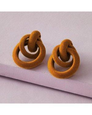 1pair Fluffy Link Stud Earrings