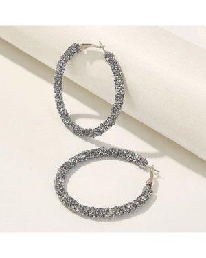 Glitter Design Hoop Earrings 1pair