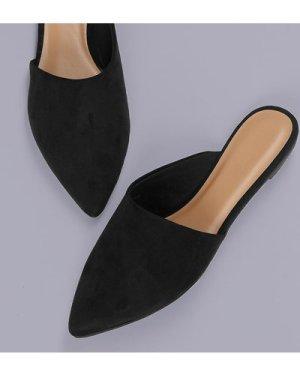 Asymmetric Pointed Toe Flat Mules