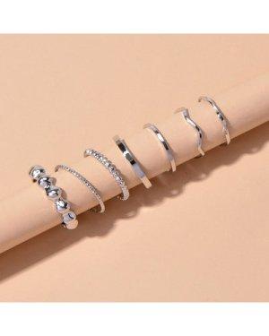 7pcs Structured Metal Ring