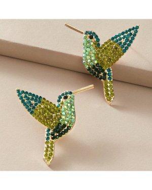 1pair Rhinestone Decor Bird Design Stud Earrings