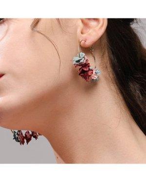 Flower Garland Hoop Earrings 1pair