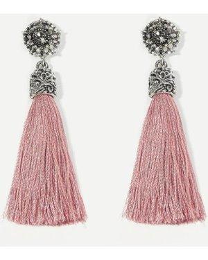 Rhinestone Detail Tassel Drop Earrings 1pair