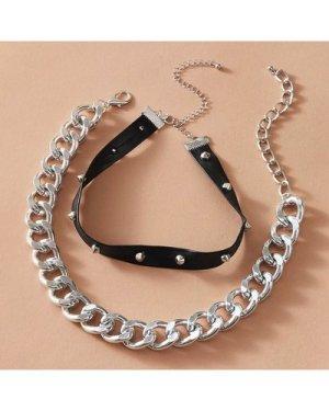 2pcs Studded & Chain Choker