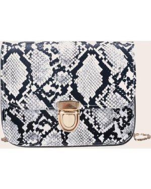 Push Lock Snakeskin Flap Crossbody Bag