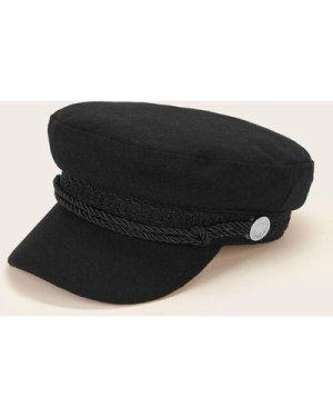 Braided Ribbon Decor Baker Boy Hat