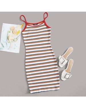 Rainbow Striped Rib-knit Dress