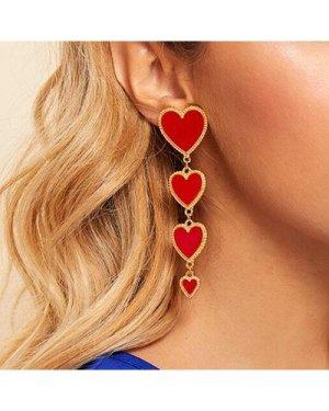 Tiered Heart Earrings 1pair