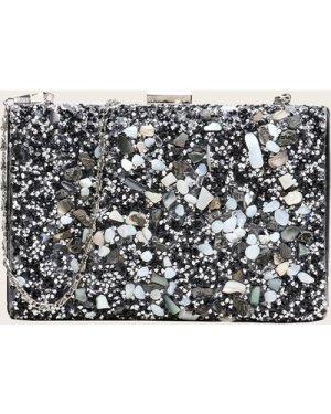 Clip Top Glitter Clutch Bag