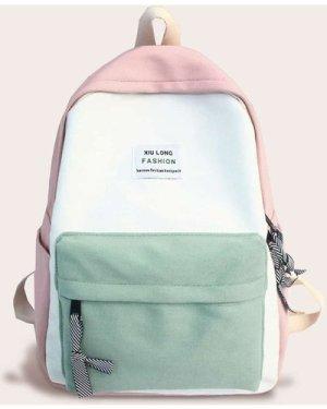Color Block Slogan Patch Decor Backpack