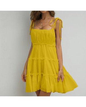Frill Trim Layered Hem Cami Dress