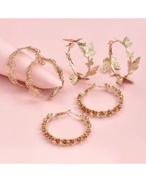 3pairs Metal Flower Hoop Earrings