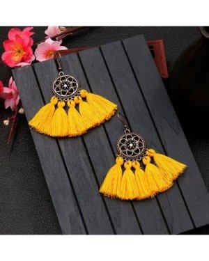 Hollow Flower Disc Tassel Drop Earrings 1pair