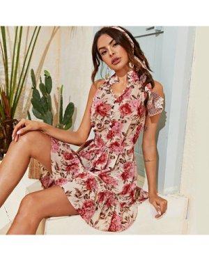 Mock-Neck Self Belted Ruffle Hem Floral Print Dress
