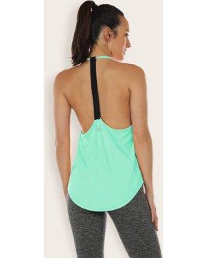 Low Back Curved Hem Sports Halter Top