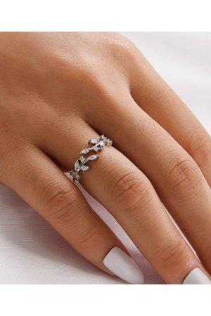 1pc Rhinestone Leaf Ring