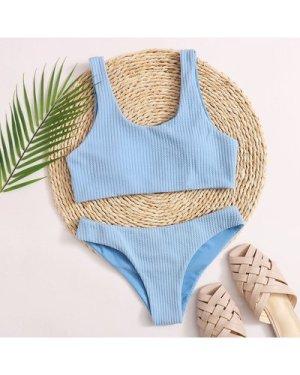 Textured Cheeky Bikini Swimsuit