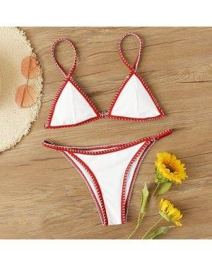 Rib Whip Stitch Triangle Tanga Bikini Swimsuit