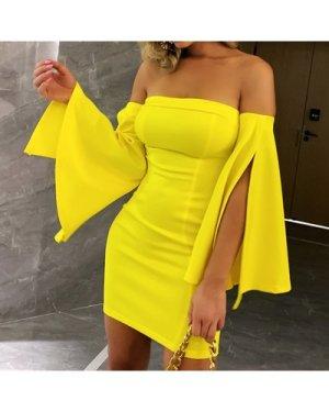Off Shoulder Split Bell Sleeve Dress