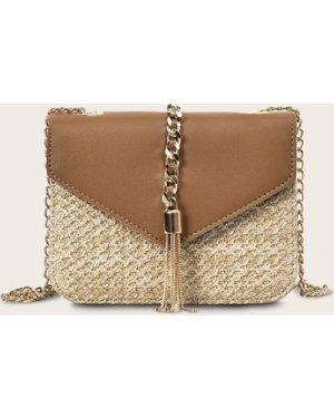 Tassel Decor Braided Crossbody Bag