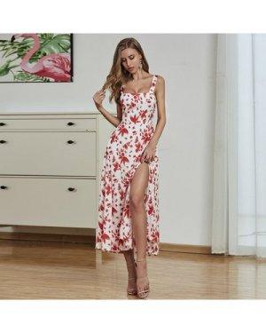 Tied Backless Split Thigh Allover Print Dress