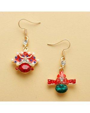 Peking Opera Design Mismatched Drop Earrings