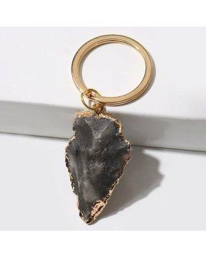 Geometric Stone Charm Keychain