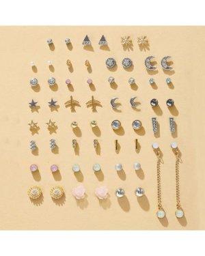 30pairs Flower & Star Decor Earrings