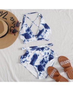 Bleach Dye Tie Back Bikini Swimsuit