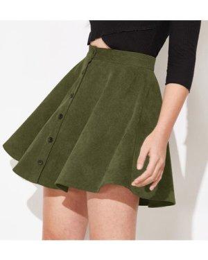 Buttoned Front Cord Skater Skirt