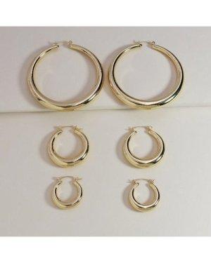 3pairs Simple Hoop Earrings