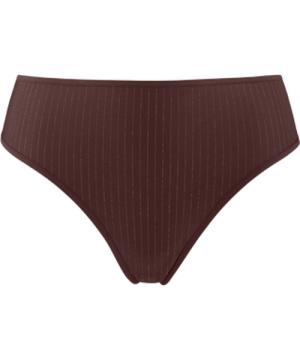 dame de paris 7 cm thong |  brown with golden lurex - L