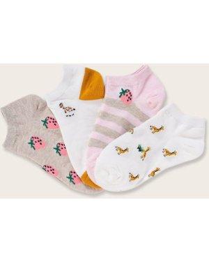 4pairs Fruit & Cartoon Animal Graphic Socks