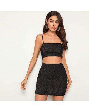 Glitter Cropped Cami Top & Mini Skirt Set