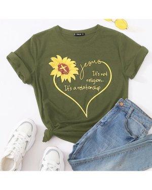 Sunflower & Slogan Graphic Tee